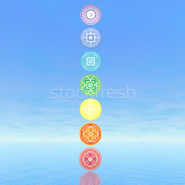Hét csakra szimbólumok oszlop 3d render kék Stock fotó © Elenarts