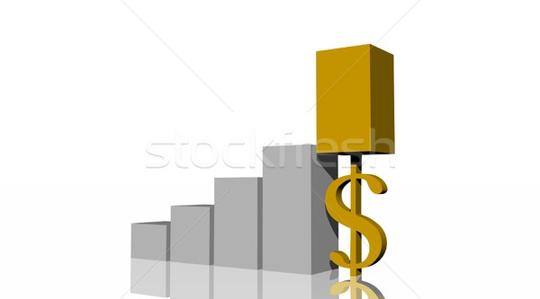 Gold dollar in histogram Stock photo © Elenarts