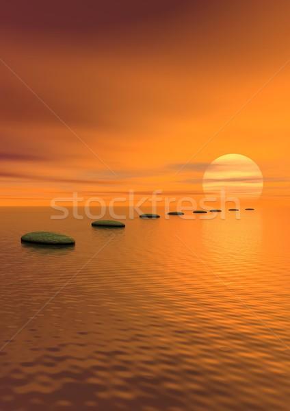 Stockfoto: Stappen · zon · grijs · stenen · oceaan · bewolkt