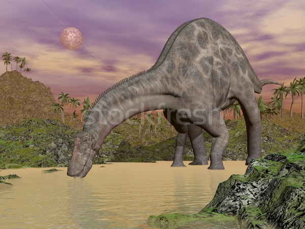 Dicraeosaurus dinosaur drinking - 3D render Stock photo © Elenarts