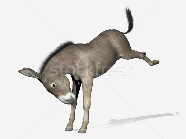 Donkey rearing - 3D render Stock photo © Elenarts