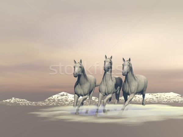 Horses gallopping - 3D render Stock photo © Elenarts