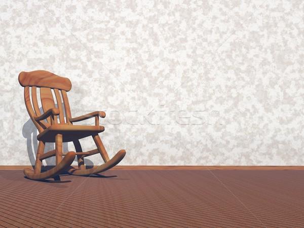 Stockfoto: Houten · fauteuil · 3d · render · lege · kamer · textuur