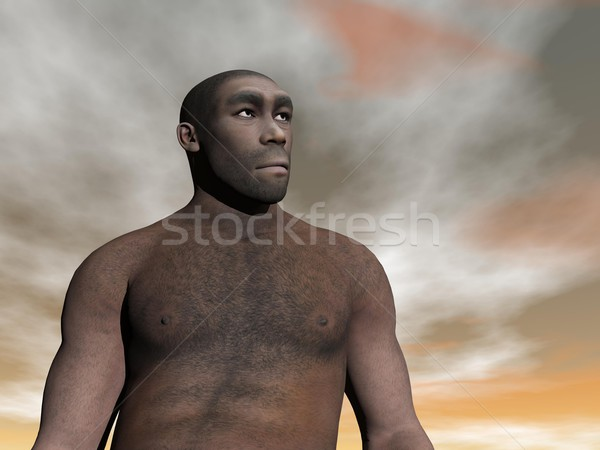Male homo erectus - 3D render Stock photo © Elenarts