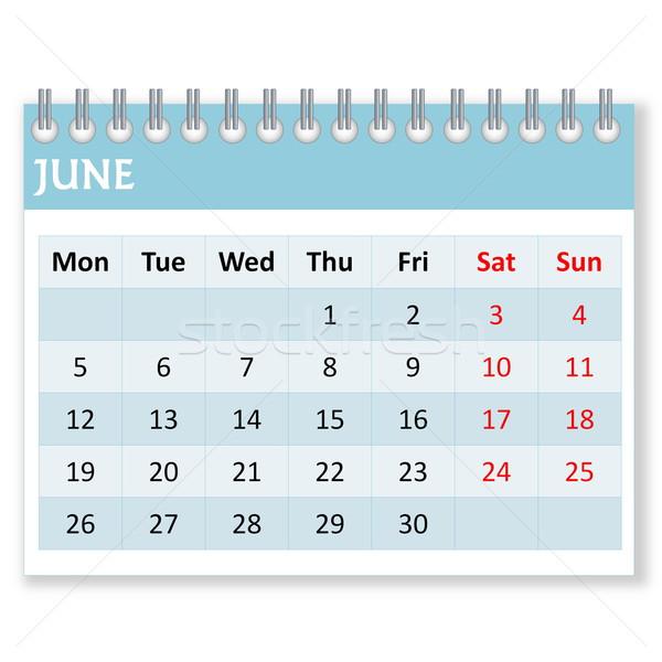 Calendar sheet for june Stock photo © Elenarts