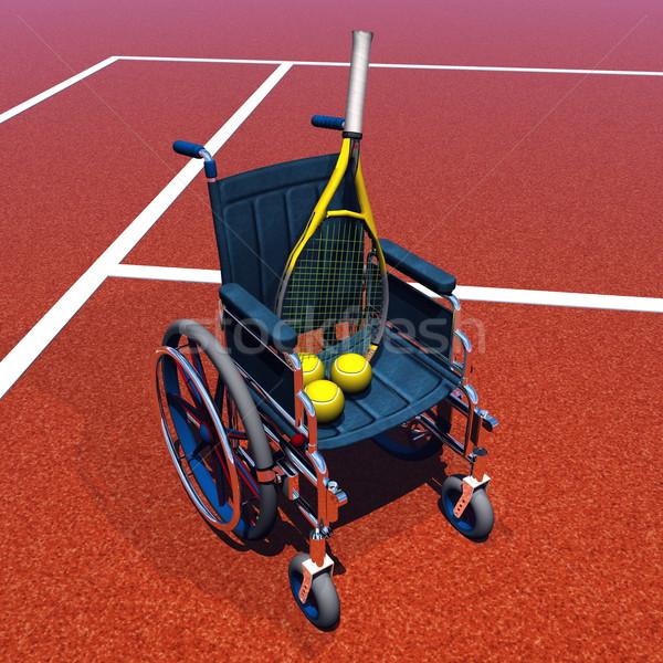 Tennis for handicapped - 3D render Stock photo © Elenarts