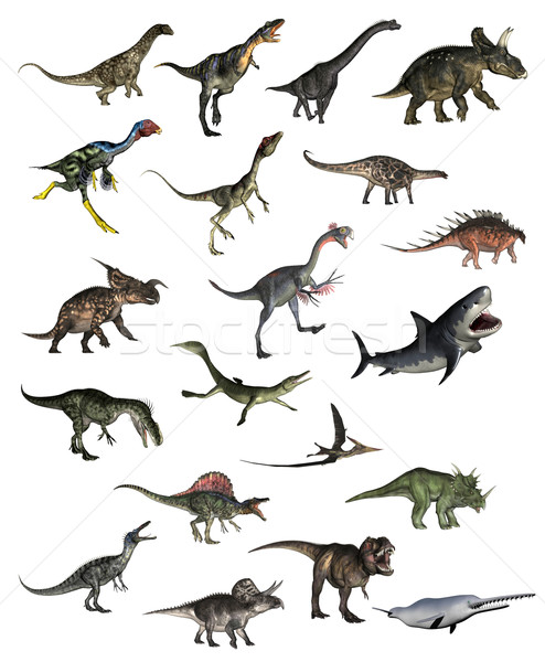 Set of dinosaurs - 3D render Stock photo © Elenarts