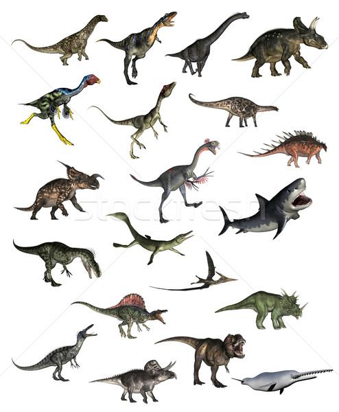 набор Динозавры 3d визуализации белый природы Сток-фото © Elenarts