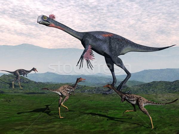 Gigantoraptor and small mononykus dinosaurs - 3D render Stock photo © Elenarts