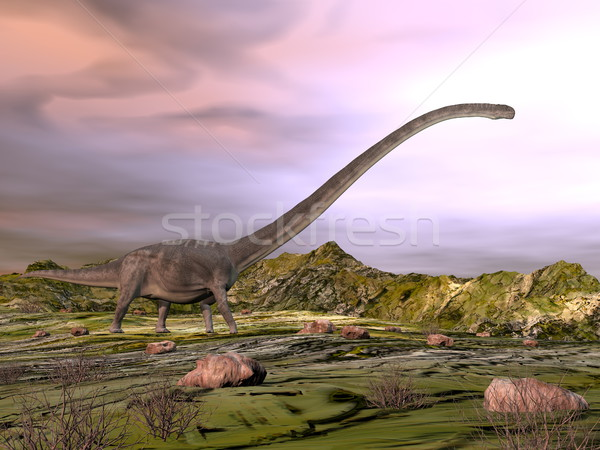 Omeisaurus walking in the desert - 3D render Stock photo © Elenarts