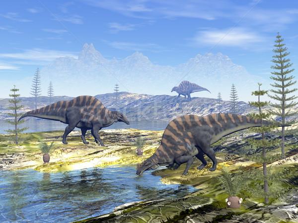 恐竜 3dのレンダリング 見える 水 ツリー 自然 ストックフォト © Elenarts