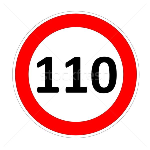 Limite de velocidade assinar acelerar placa sinalizadora branco carro Foto stock © Elenarts