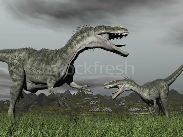 Monolophosaurus roaring - 3D render Stock photo © Elenarts