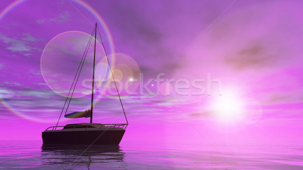 Sailing boat - 3D render Stock photo © Elenarts