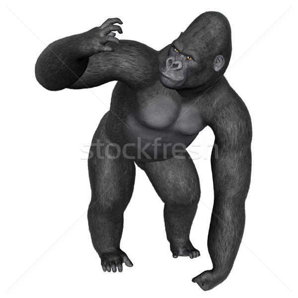 Angry gorilla - 3D render Stock photo © Elenarts