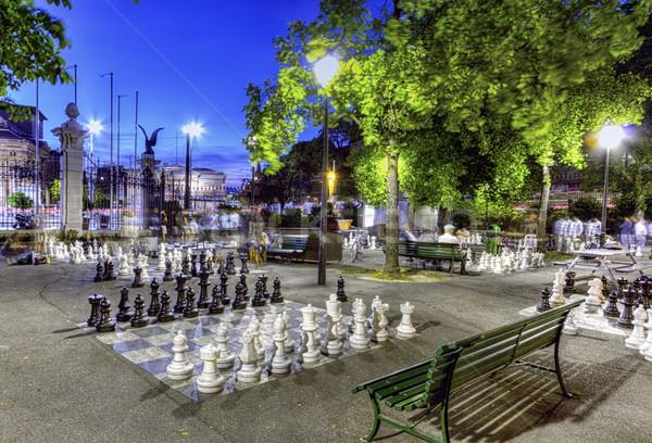 Szabadtér park Genova Svájc hdr éjszaka Stock fotó © Elenarts