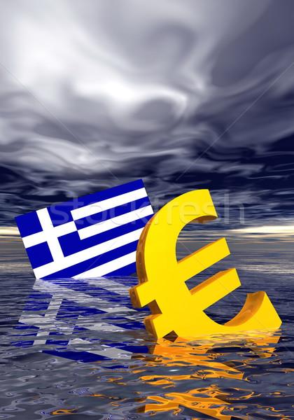 Euro kriz hasta simge Yunan bayrak Stok fotoğraf © Elenarts
