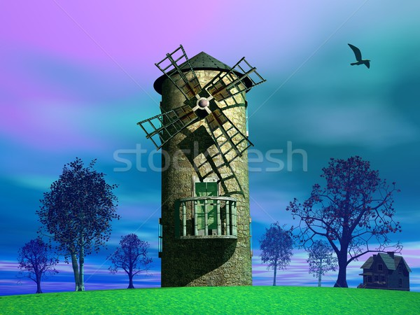 Old wind mill Stock photo © Elenarts