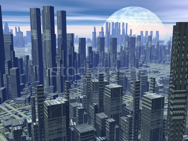 Futuristic city - 3D render Stock photo © Elenarts