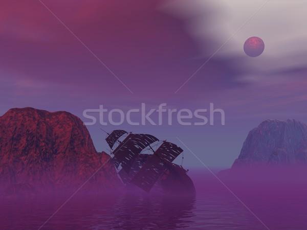 крушение старые лодка морем облачный фиолетовый Сток-фото © Elenarts