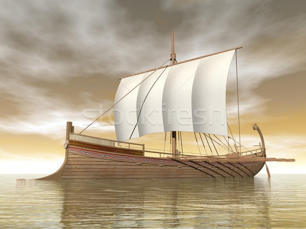 Old greek boat - 3D render Stock photo © Elenarts