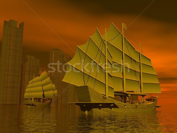 Stockfoto: Chinese · rommel · schepen · 3d · render · twee · water