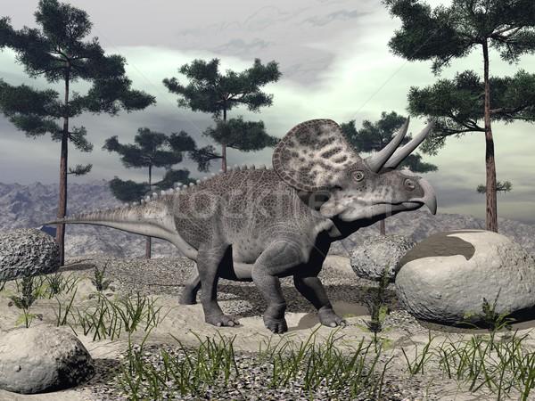 Zuniceratops dinosaur - 3D render Stock photo © Elenarts