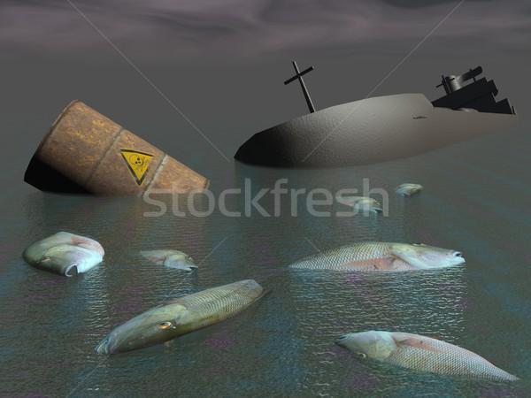 промышленных катастрофа 3d визуализации крушение токсичный баррель Сток-фото © Elenarts