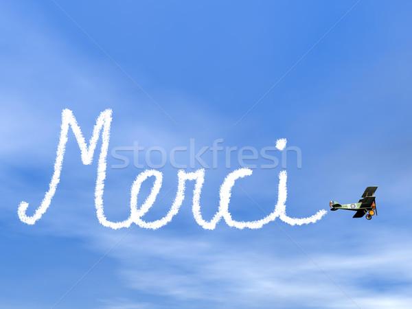 Merci, french thank you message, from biplan smoke - 3D render Stock photo © Elenarts