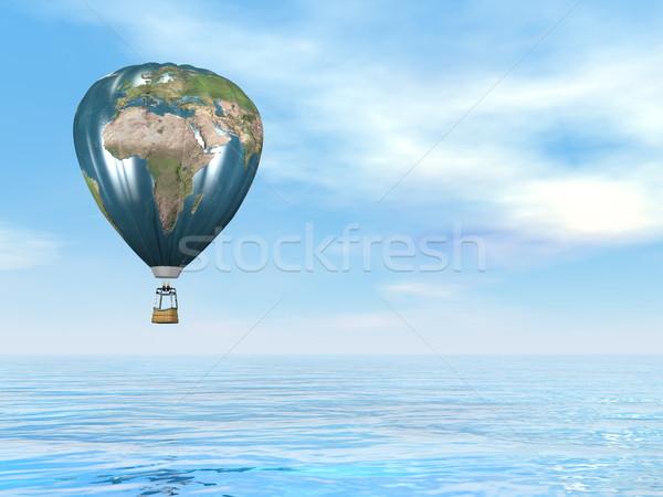 Earth map hot air balloon - 3D render Stock photo © Elenarts