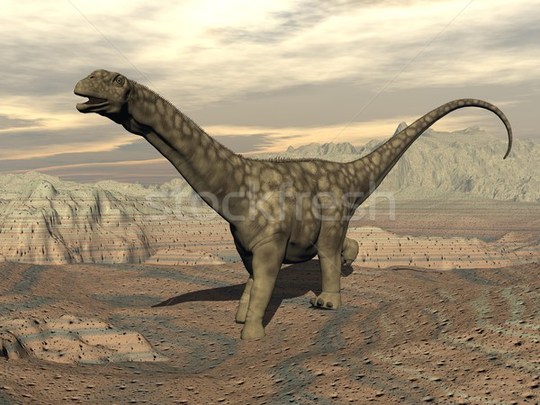 Argentinosaurus dinosaur walk - 3D render Stock photo © Elenarts