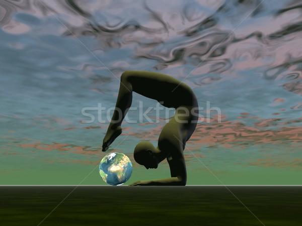 ストックフォト: ヨガ · 地球 · 3dのレンダリング · 男 · 小