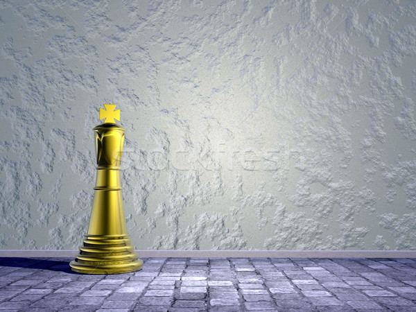 Chess king in the street - 3D render Stock photo © Elenarts