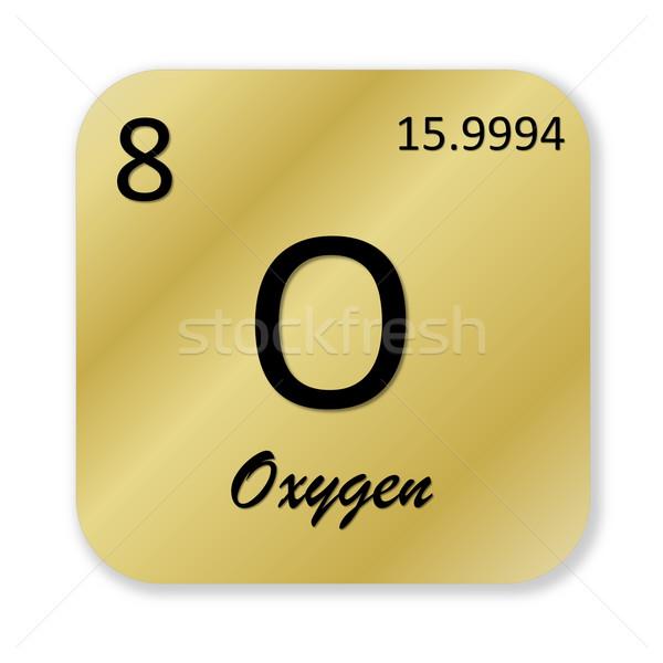 Oxigênio elemento preto dourado praça forma Foto stock © Elenarts