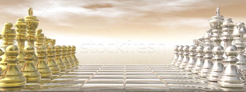 Chessboard - 3D render Stock photo © Elenarts