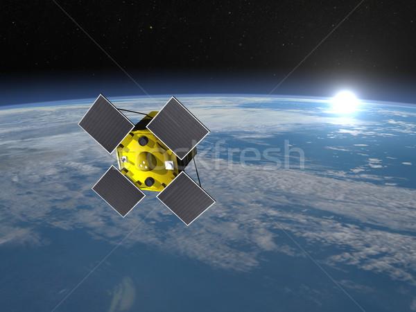 衛星 3dのレンダリング スペース 地球 太陽 ストックフォト © Elenarts