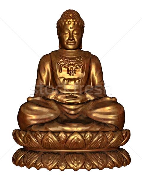 Gouden buddha 3d render een mediteren water Stockfoto © Elenarts