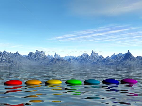 Chakra stappen 3d render water bergen dag Stockfoto © Elenarts