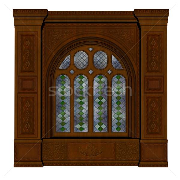 замок окна 3d визуализации коричневый изолированный белый Сток-фото © Elenarts