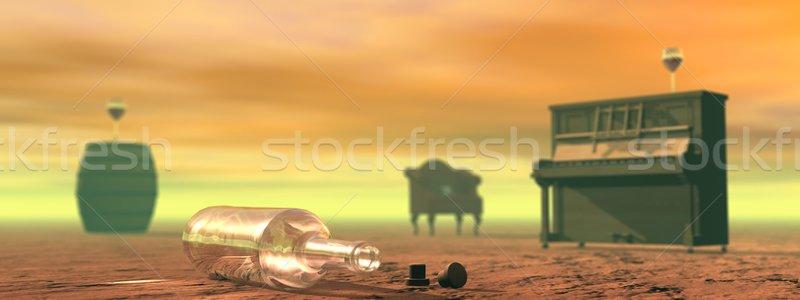 Alcohol abuso escena vacío botella vino Foto stock © Elenarts