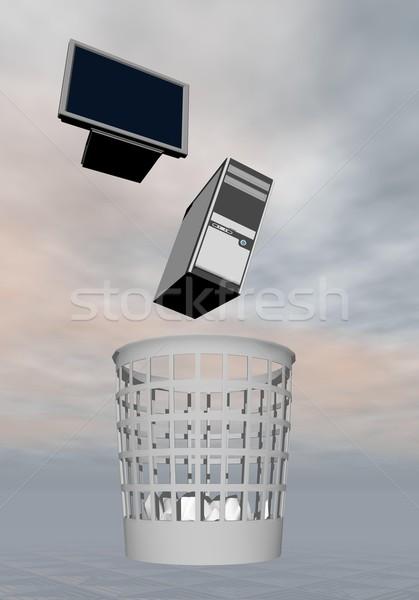 Computer to rubbish - 3D render Stock photo © Elenarts