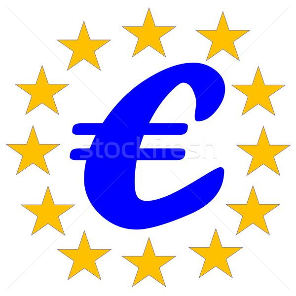 Европейское сообщество символ евро двенадцать желтый звезды Сток-фото © Elenarts