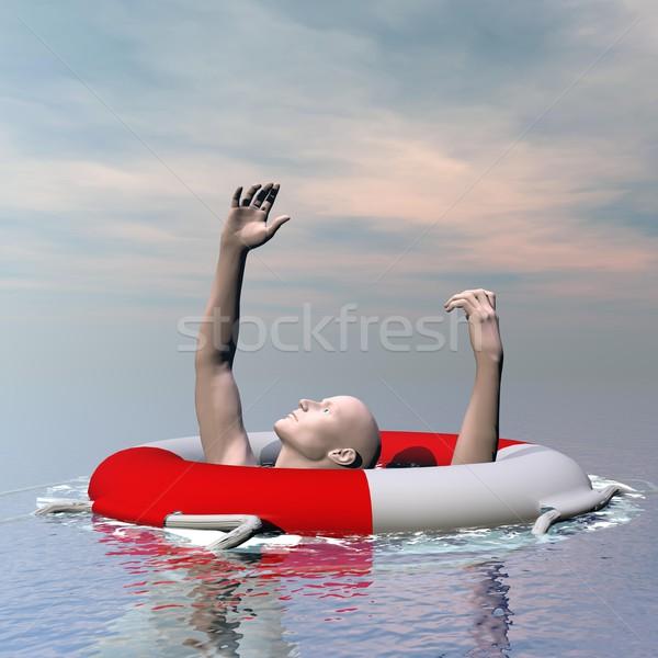 Man drowning - 3D render Stock photo © Elenarts