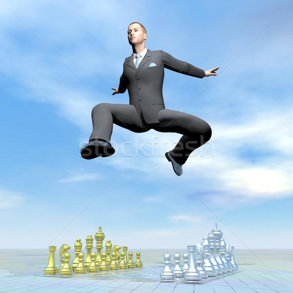 Businessman jumping upon chessboard - 3D render Stock photo © Elenarts