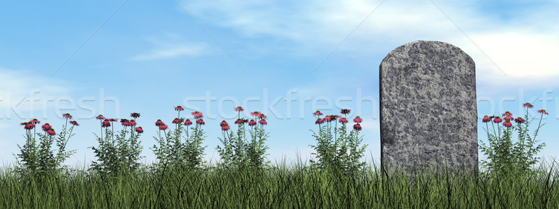 Tombstone and beautiful flowers - 3D render Stock photo © Elenarts