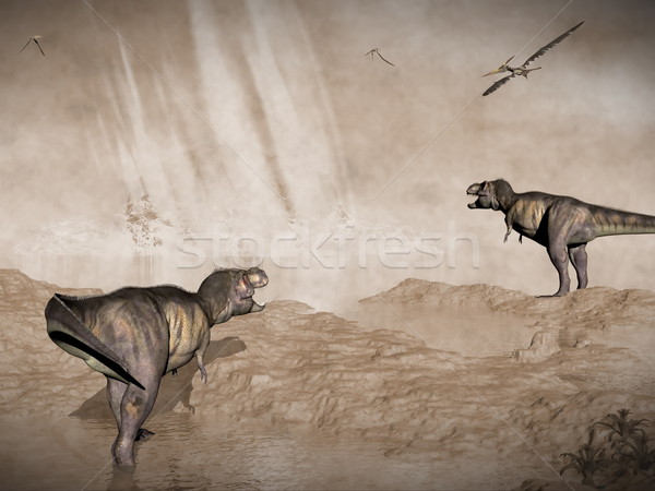 Fine dinosauri meteorite Messico rendering 3d guardando Foto d'archivio © Elenarts