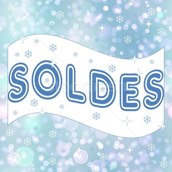 французский зима продажи снега фон синий Сток-фото © Elenarts