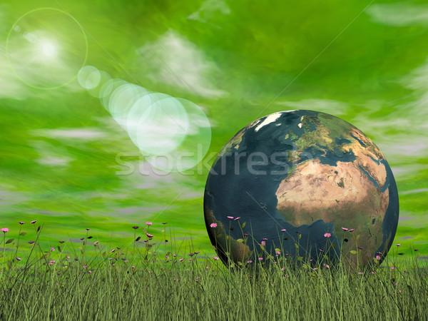 Verde ecologico terra rendering 3d sole halo Foto d'archivio © Elenarts