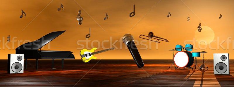 ストックフォト: ミュージカル · ピアノ · ギター · 低音 · ドラム · マイク