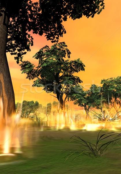 Incendi boschivi rendering 3d inizio fuoco piccolo legno Foto d'archivio © Elenarts